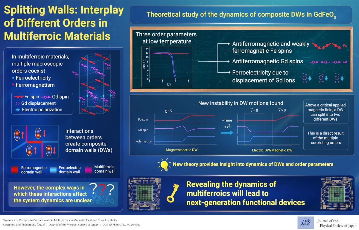 Splitting Walls: Interplay of Different Orders in Multiferroic Materials